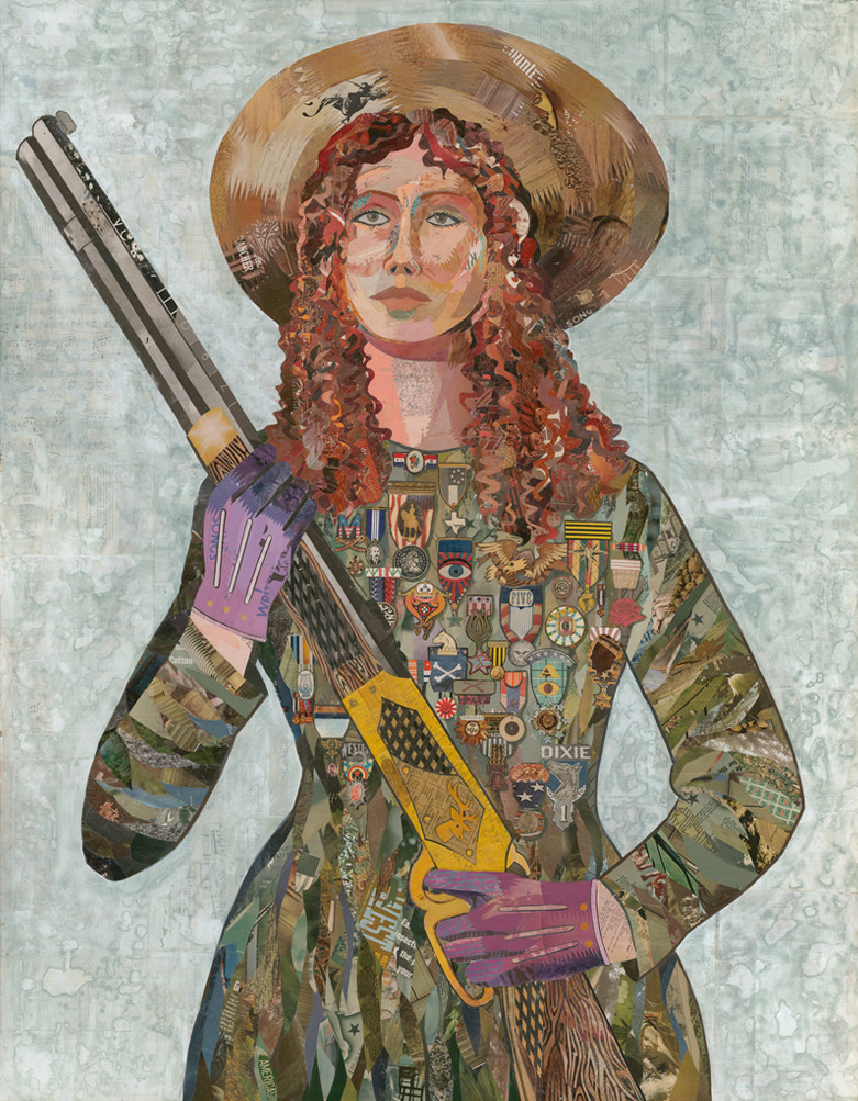 """Sharpshooter"" Vintage Papers on Wood, 66"" x 54"" by Dolan Geiman"
