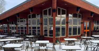 The new deck of Red Pine Lodge.