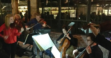 Members of the Utah Symphony (MOTUS) perform at Current Oyster & Fish in Salt Lake City.