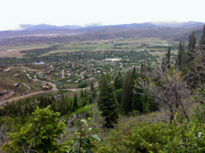 Snyderville Basin (Park City) and the Uinta Mountains beyond from Rosebud's Heaven.