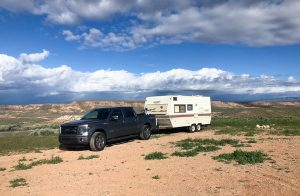 Shot of my Layton Funtime Trailer at McCoy Flats, Utah, for the Great Early Season Rides story